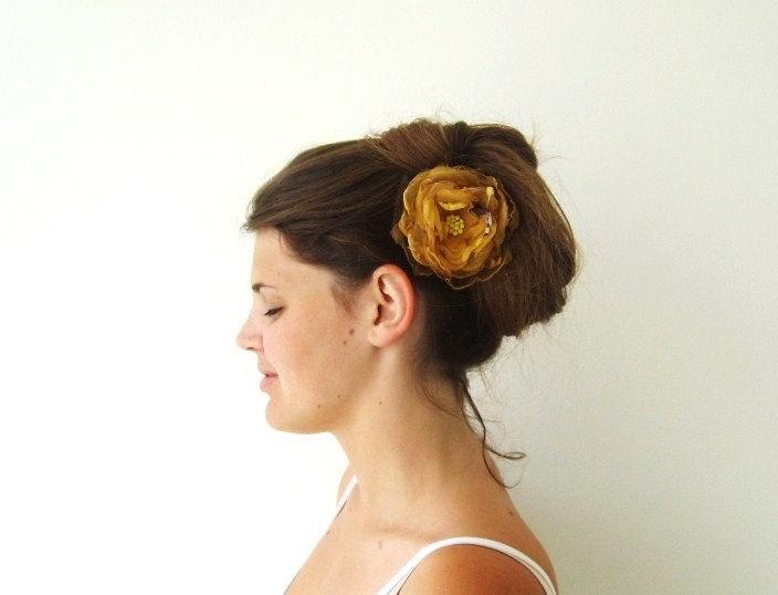 Свадьба - Golden Yellow Honey Organza Flower Hair Accessories Hair Clip Corsage Rustic Wedding Bridal Hair Bride Bridesmaid Flower Girl Hair Flower