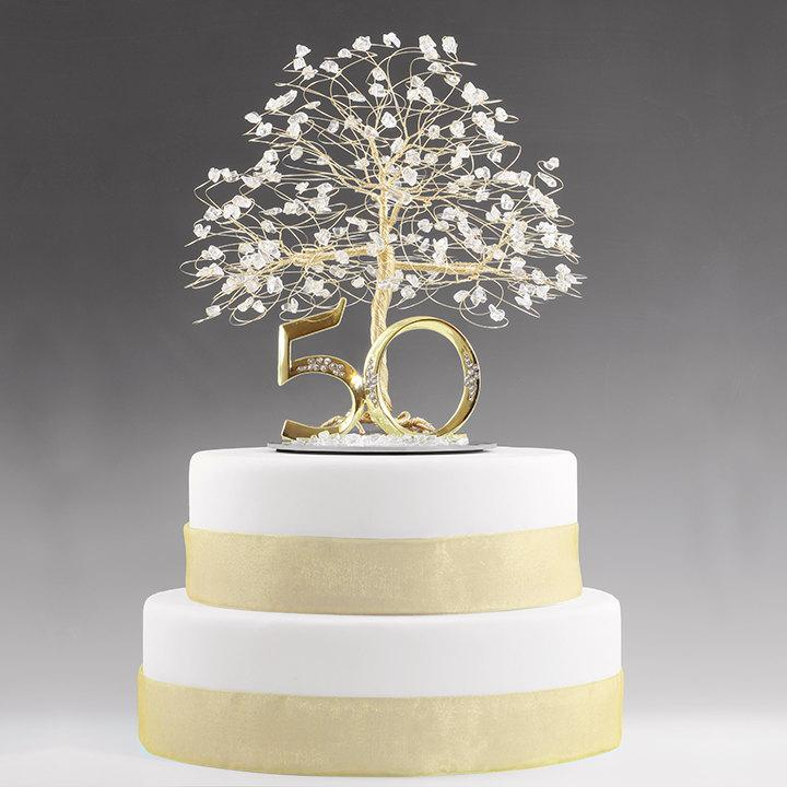 50th Anniversary Cake Topper Gift Decoration Birthday Idea Tree In Clear Quartz Crystal And Gold Tone Wire