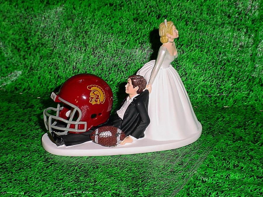 Mariage - USC Trojans Football Groom Cake Fun but Cute Wedding Topper- College Sports University of South Carolina Fans-1