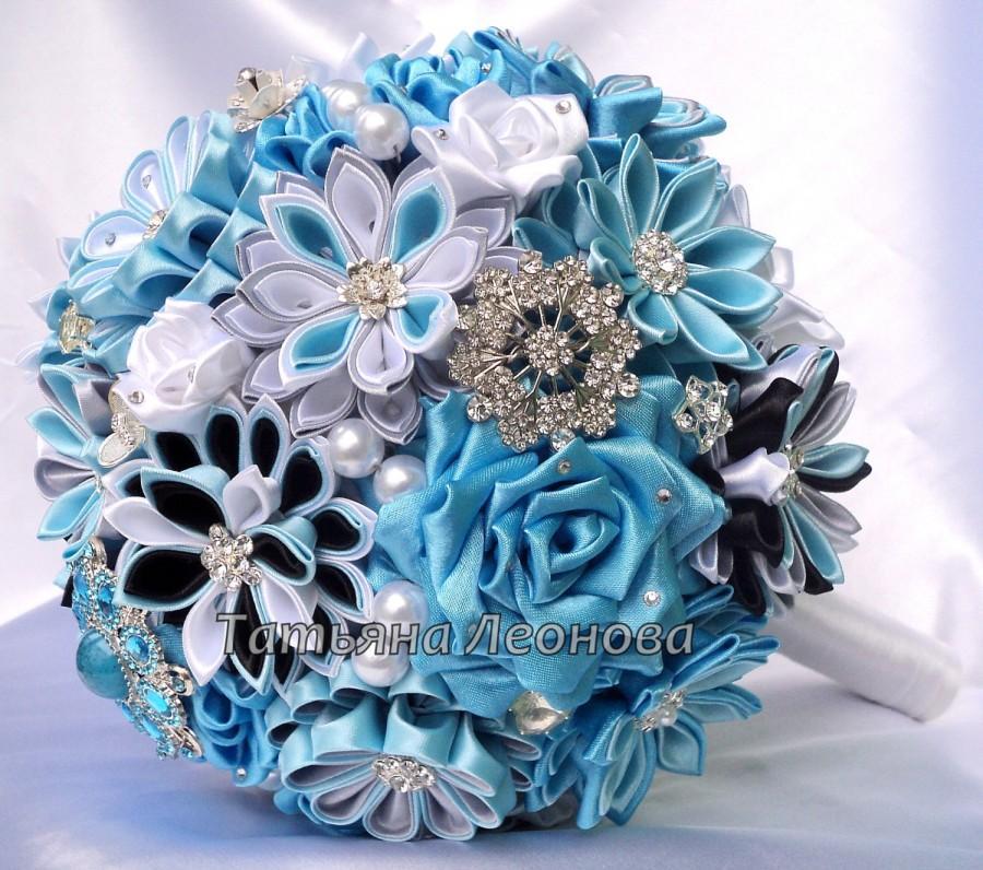 "Hochzeit - Fabric Wedding Bouquet, Brooch bouquet ""Breath"" Blue, Gray, Turquoise and Black"