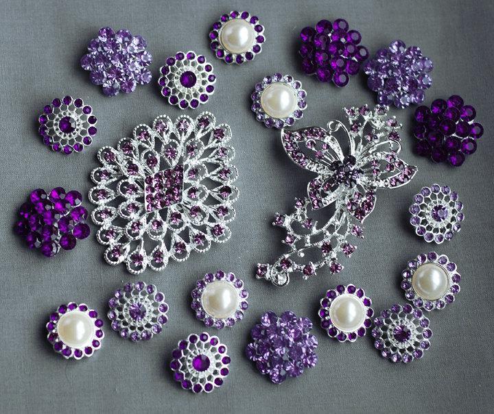 Wedding - 20 Purple Rhinestone Button Brooch Assorted Embellishment Pearl Crystal Bouquet Supply Light Lavender Amethyst Eggplant BT160