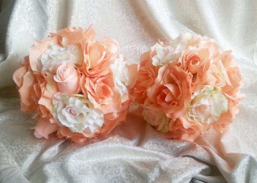 Wedding - Fabric flowers wedding BOUQUET peach cream Flowers ROSES, satin Handle,  Bridesmaids, custom