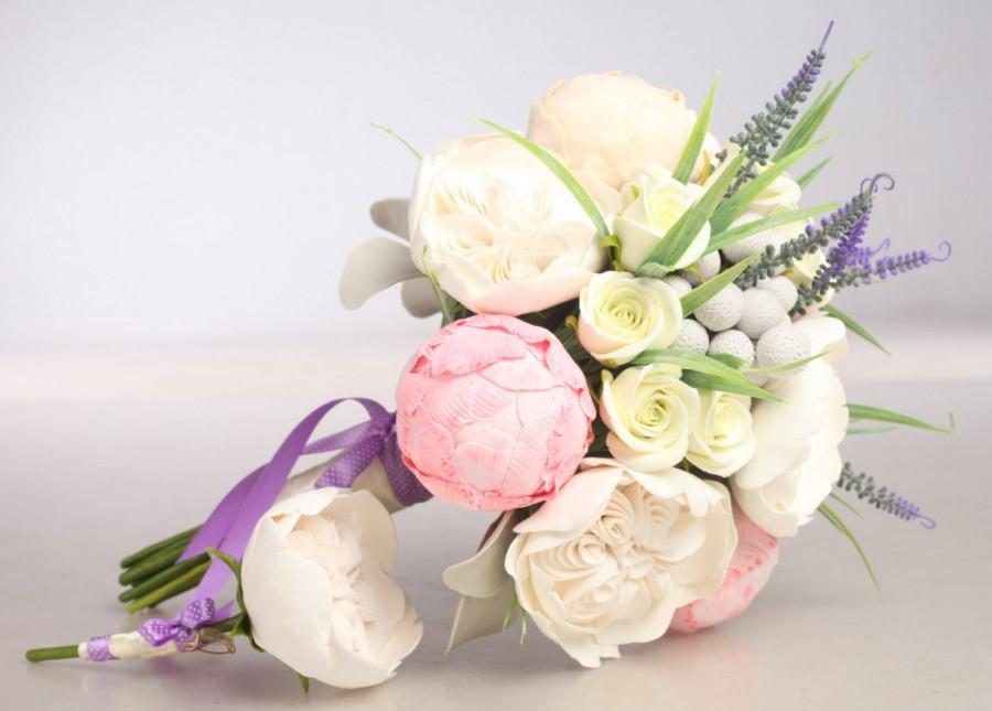 Свадьба - Clay wedding bouquet and boutonniere set, Bridal bouquet, Peonies, Roses, Lavender, Brunia