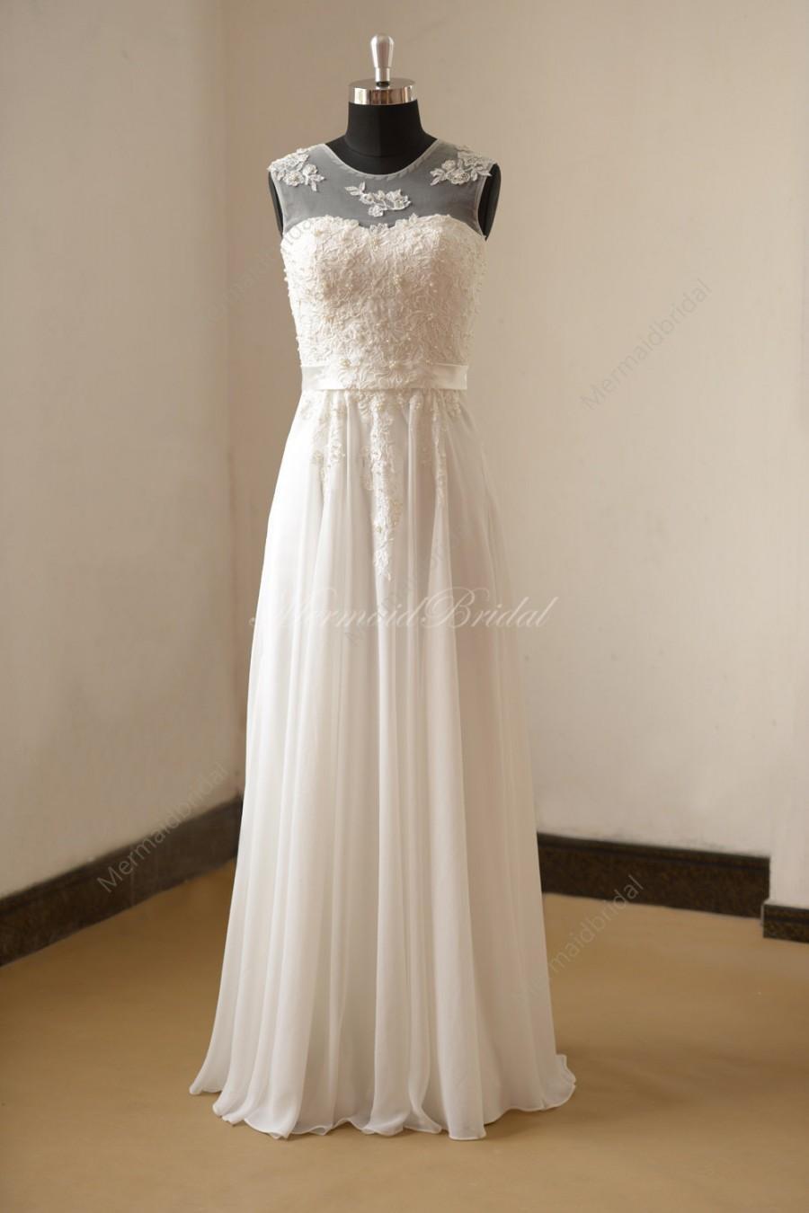 Ivory chiffon lace wedding dress with illusion neckline for Lace wedding dress with pearls