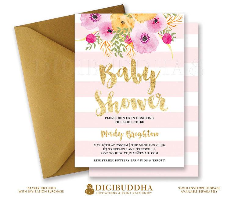 Pink stripes baby shower invitation gold glitter painterly pink stripes baby shower invitation gold glitter painterly watercolor flowers baby girl modern free priority shipping or diy printable mady filmwisefo Choice Image