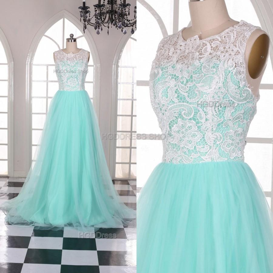 Mariage - Mint Bridesmaid Dresses Lace Prom Dress Long Prom Dresses Lace Applique Bridesmaid Dresses Tulle Party Dress