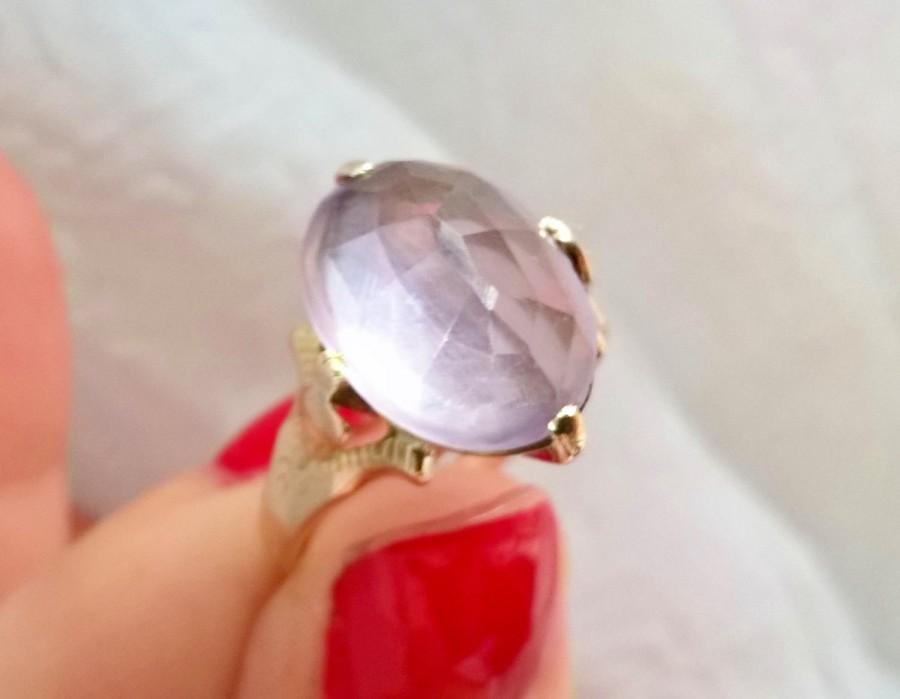 Mariage - Unusual Victorian Rose Cut Pale Lavender Amethyst 14K Rose Gold Antique Ring! Romantic Story! February Birthstone! Rose de France Stone!