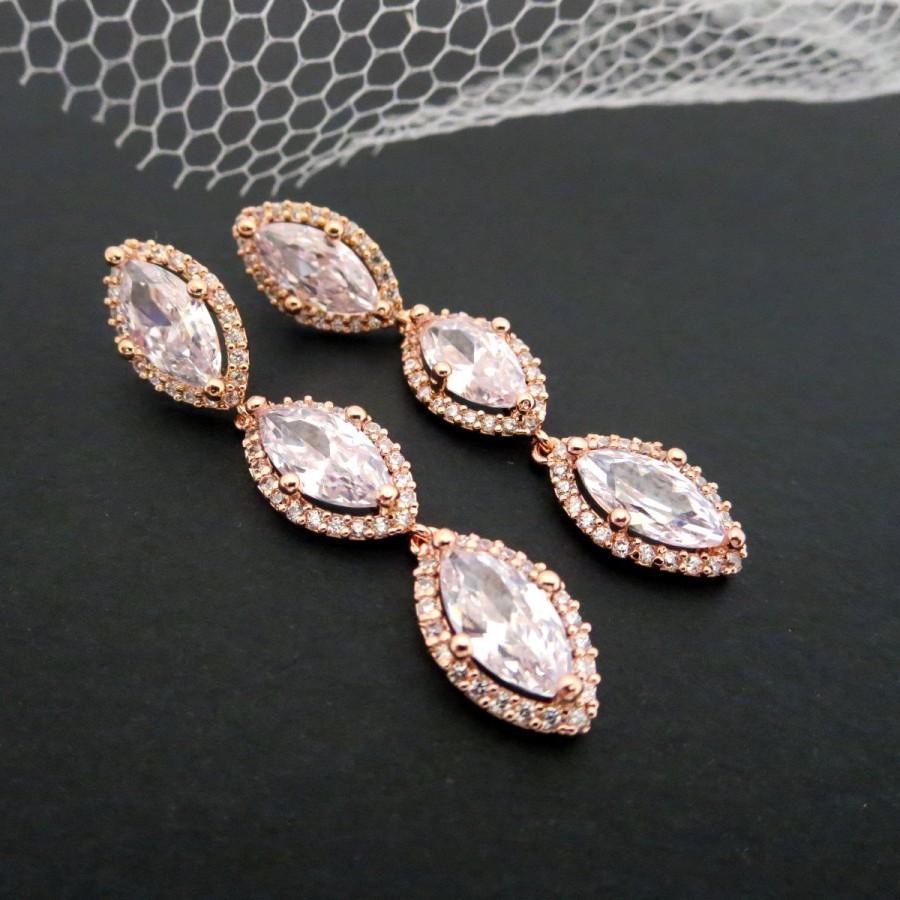 Wedding - Rose Gold Bridal earrings, Rose Gold Wedding earrings, Crystal earrings, Marquise cut earrings, Bridesmaid earrings Wedding jewelry SCARLETT