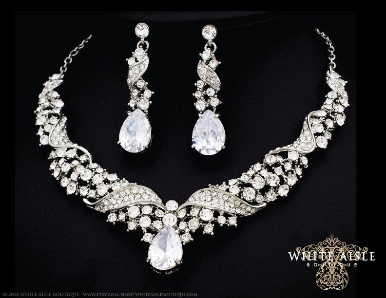 Bridal Jewelry Set Crystal Statement Necklace Earrings Vintage Style