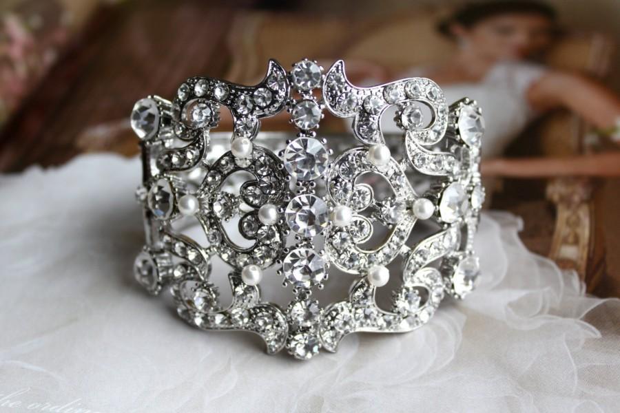 Mariage - Bridal Bracelet, Vintage Style Bridal Bracelet, Wedding Bracelet, Pearl Rhinestone Bracelet, Hinged Bangle Bracelet, Wedding Jewelry