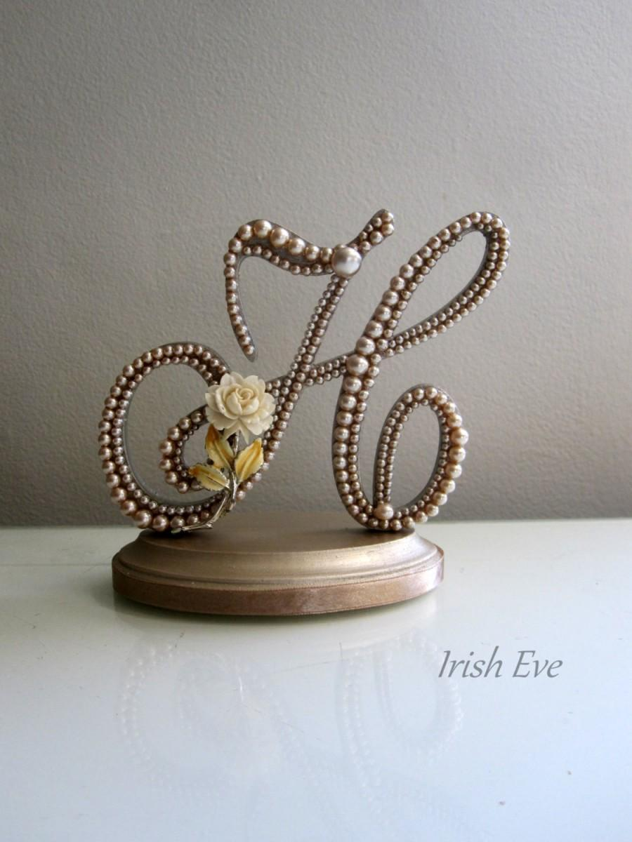 "Свадьба - Wedding Cake Topper ""Made to Order"" in Champagne Pearl: Letter H Rustic Weddings"
