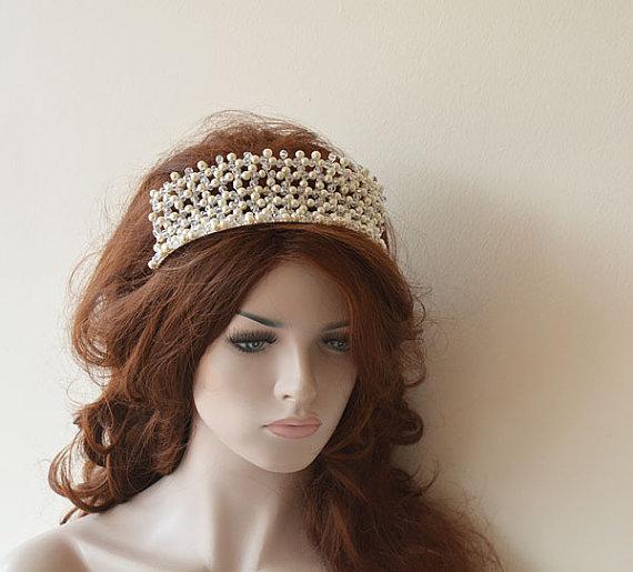 Свадьба - Bridal Tiara, Wedding Tiaras, Wedding Hair Accessories, Bridal Headpiece, Bridal Hair Accessory, Pearl and Crystal Tiara