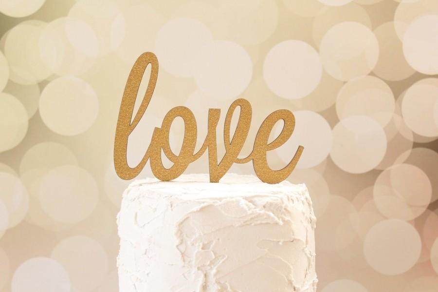 Свадьба - Love Cake Topper Rustic Elegance Glitter Cake Topper Wood Cake Topper