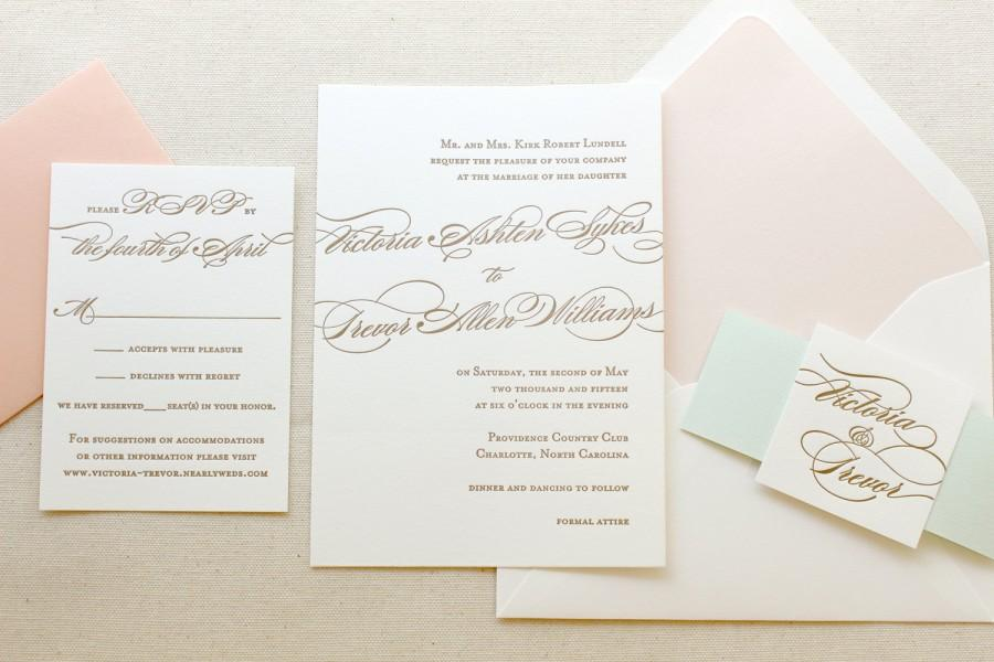 the begonia suite classic letterpress wedding invitations mint peach blush gold traditional timeless romantic formal simple - Mint And Gold Wedding Invitations