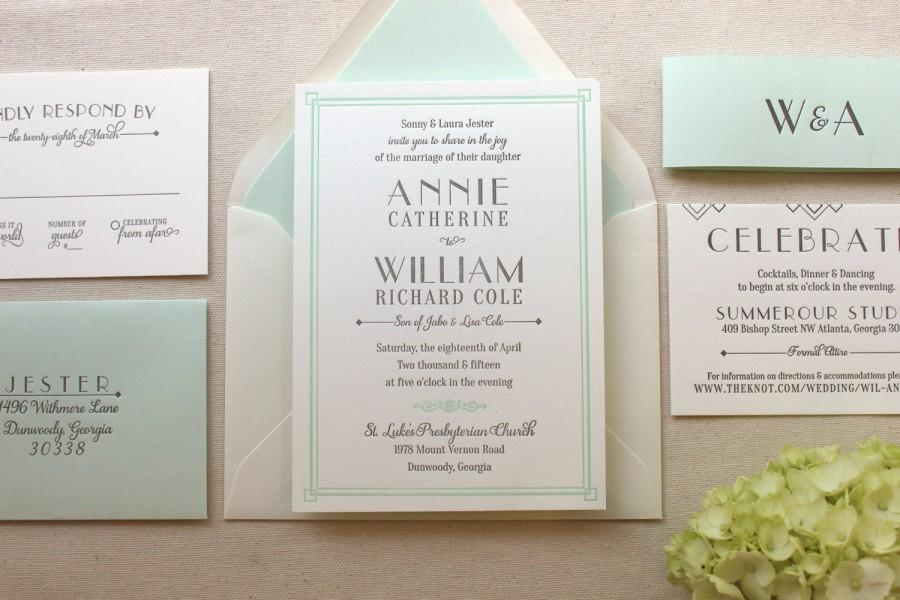 The lush deco suite letterpress wedding invitation suite for Wedding invitation suite what to include