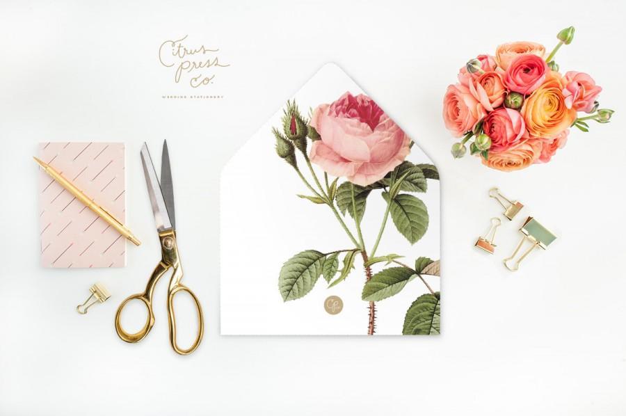 Wedding - Pink Rose Envelope Liners DIY Printable Wedding Invitations and cards