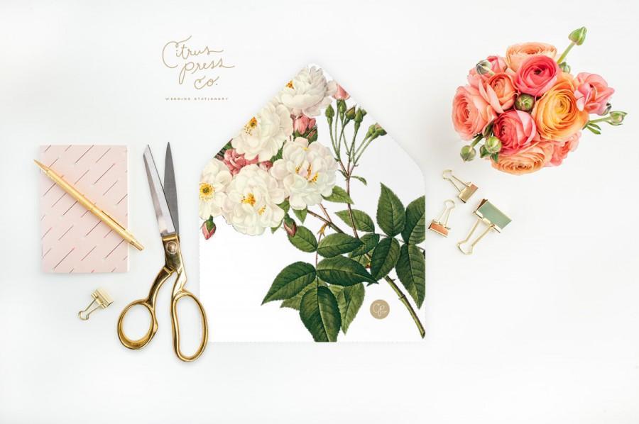 Mariage - Roses Envelope Liner, DIY Printable Weddings, DIY Stationery, rustic, elegant, classy