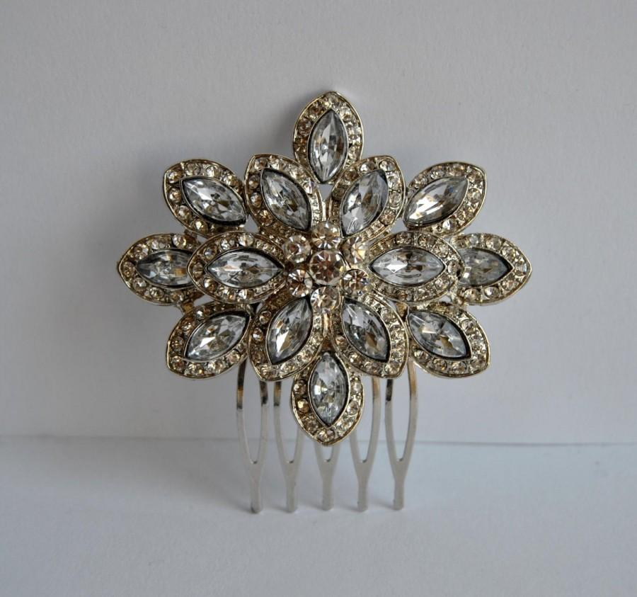 Mariage - Silver Crystal Bridal Art Deco Hair Comb, Downton Abbey, Great Gatsby, Vintage Inspired Hairpiece, Bridal Hair Accessory, Crystal Headpiece
