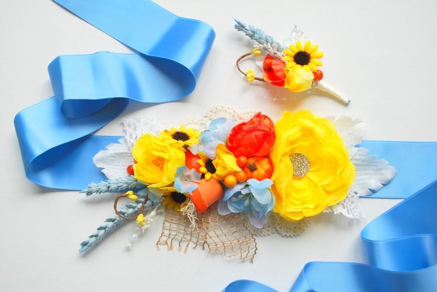 Mariage - Blue Yellow Orange Weddings Bridal Sash, Yellow Orange Grooms Boutonniere, Maternity Belt, Country  Sunflower Pumpkin Wheat Rustic Wedding