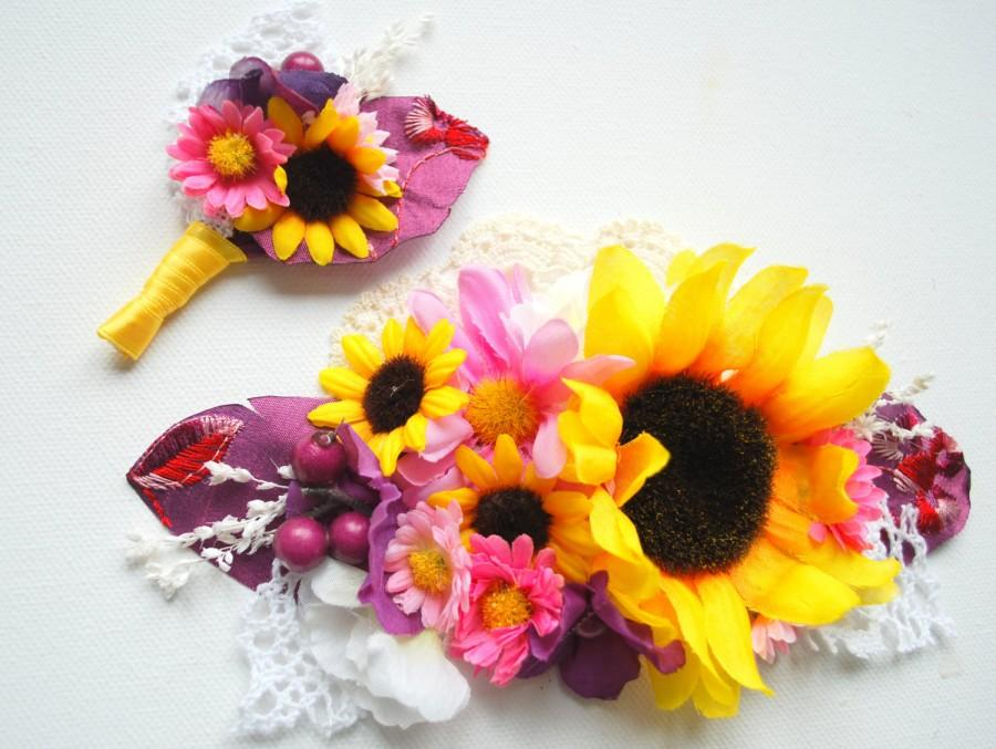 Mariage - sunflowers bridal comb, grooms boutonniere, weddings hair accessories, country farm rustic wedding, plum purple lilac yellow pink,