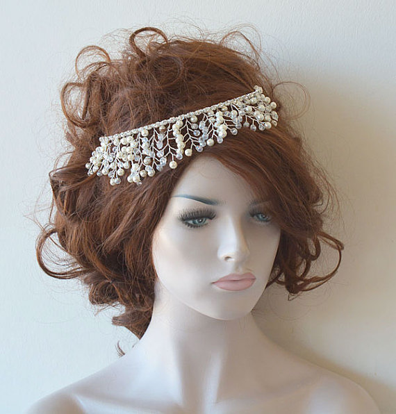 Wedding - Bridal Tiara, Wedding Tiaras, Wedding Hair Accessories, Bridal Headpiece, Bridal Hair Accessory, Pearl and Crystal Tiara
