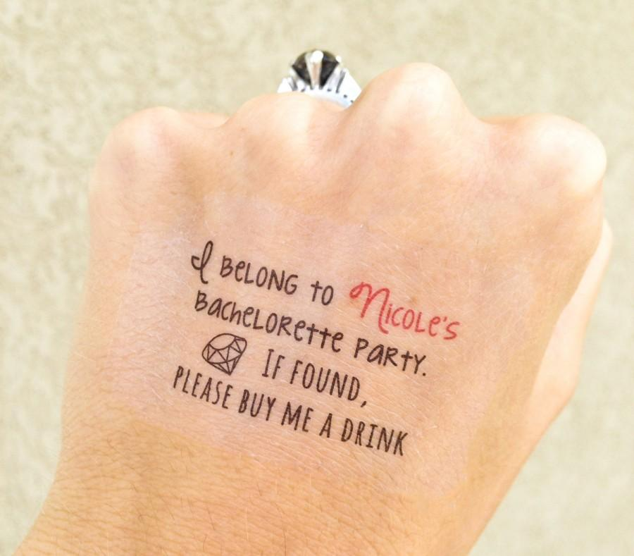 "Свадьба - 4 ""Buy Me a Drink"" BACHELORETTE PARTY temporary tattoos customized w/bride's name"