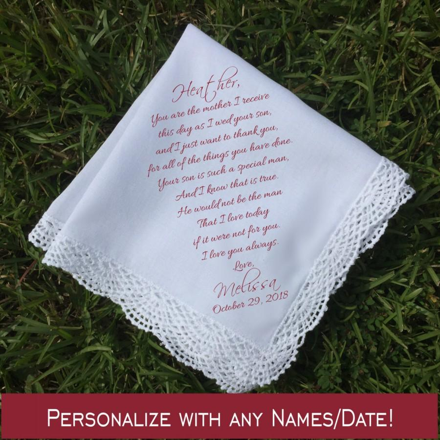 Mariage - Mother of the Bride Gift Mother of the bride handkerchief mother of the Groom gift Wedding Handkerchief PRINTED handkerchief ...(H 022)