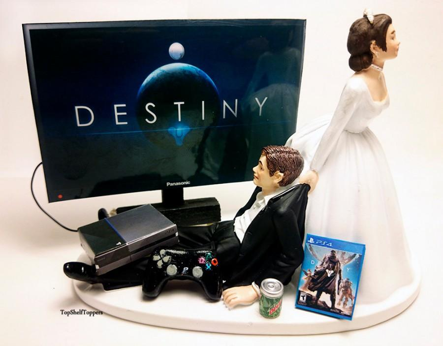 Hochzeit - Wedding Cake Topper  Funny DEST Gamer Xbox One/PS4 Custom