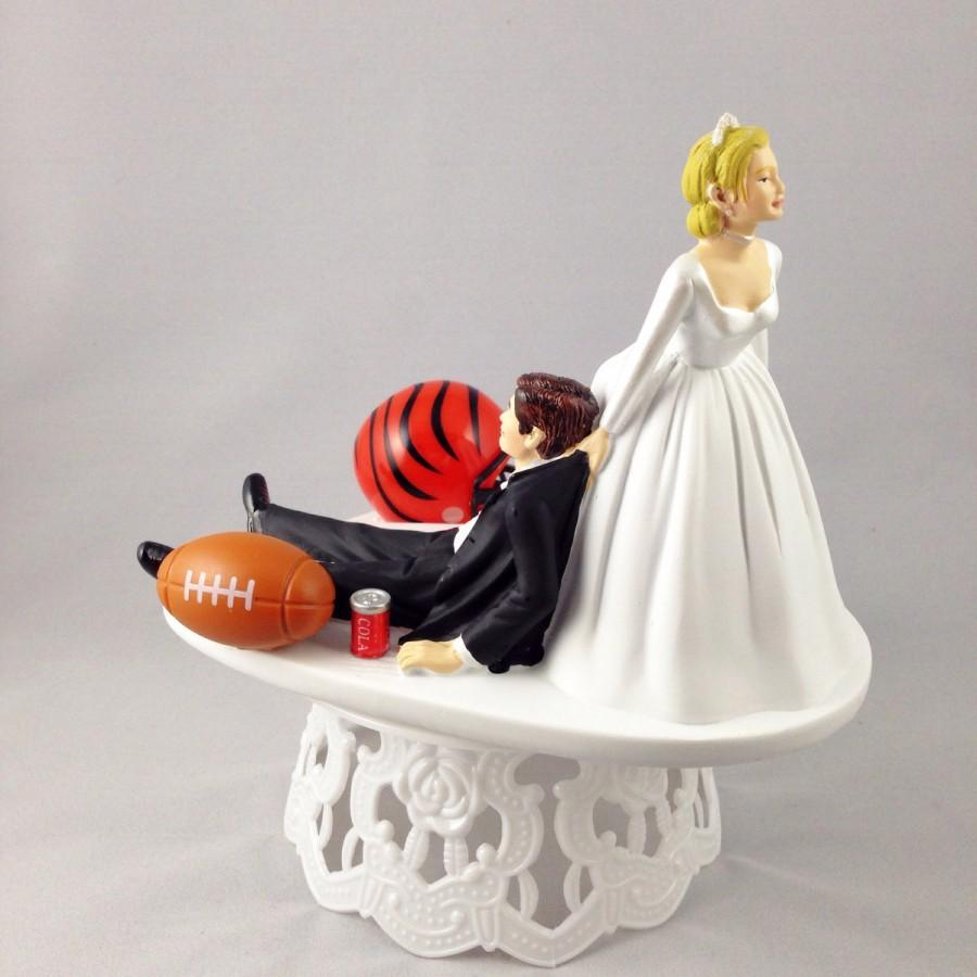 Wedding - Funny Wedding Cake Topper Football Themed Cincinnati Bengals Unique and Humorous Cake Toppers - Perfect Handmade Groom's Cake Toppers