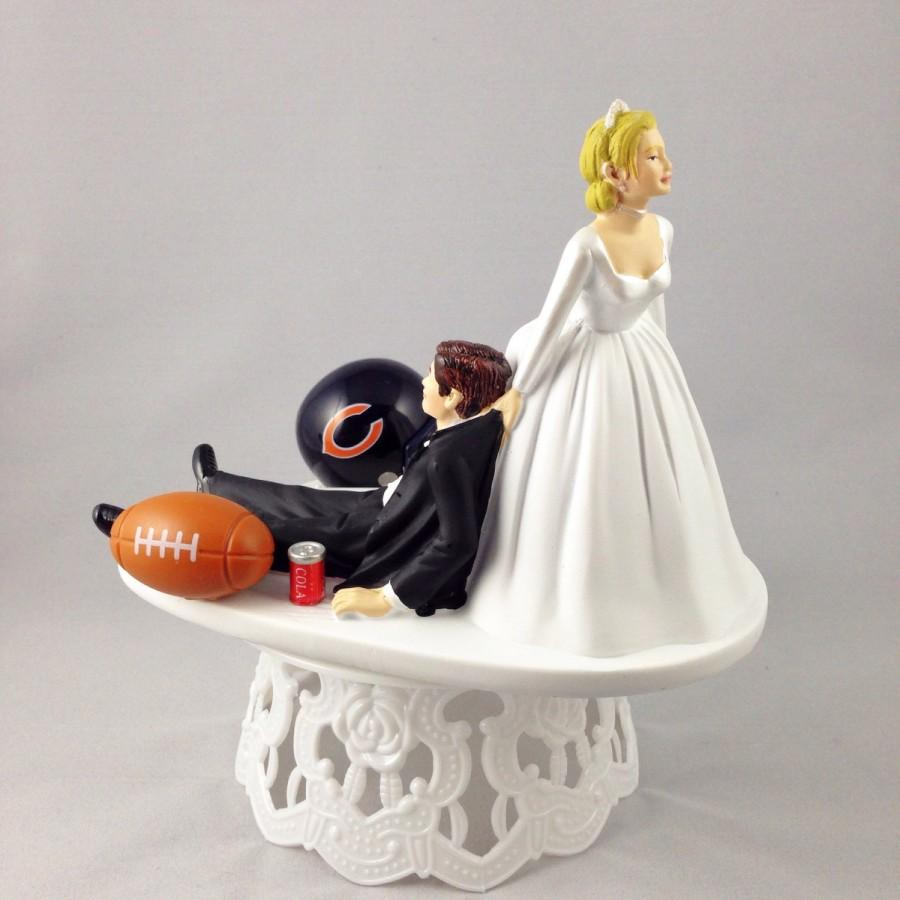 Wedding - Handmade Wedding Cake Topper Funny Football Themed Chicago Bears Humorous Custom Cake Toppers - Perfect For Groom's Cake
