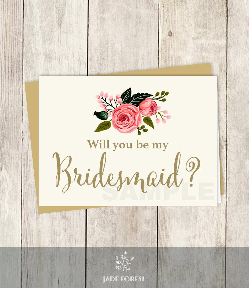Mariage - Be My Bridesmaid // Will You? // Wedding Card DIY // Watercolor Rose Flower // Gold Calligraphy, Rose // Printable PDF ▷ Instant Download