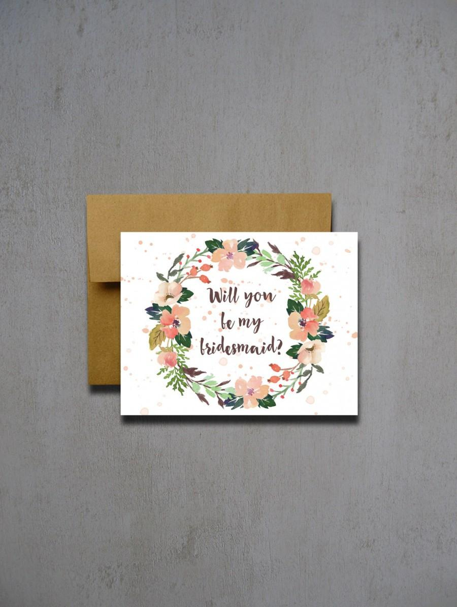 Свадьба - Tropical Watercolor Flower Will You Be My Bridesmaid - Will you be my bridesmaid - Wedding greeting card - will you be my matron of honor