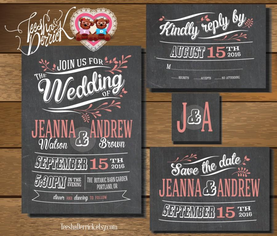 Printable Wedding Invitation Suite In Vintage Theme W0182 Of RSVP Card Monogram And Save The Date Designs