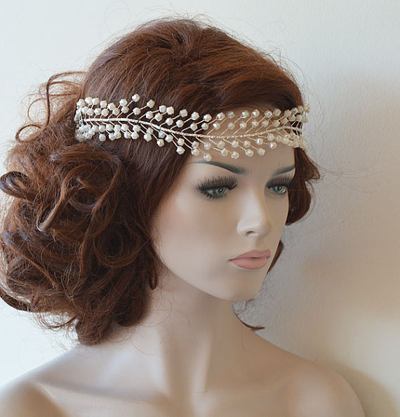 Wedding - Wedding Headband, Bridal Pearl Hair Vine, Bridal Headband, Bridal Hair Accessories, Wedding Hair Accessories