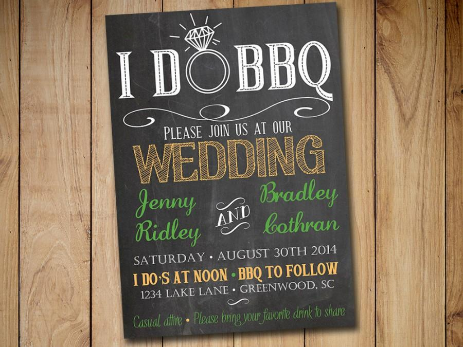 Mariage - I DO BBQ Wedding Invitation Template Download - Chalkboard Invitation Green Orange 5x7 Wedding Printable - Rustic Wedding Download