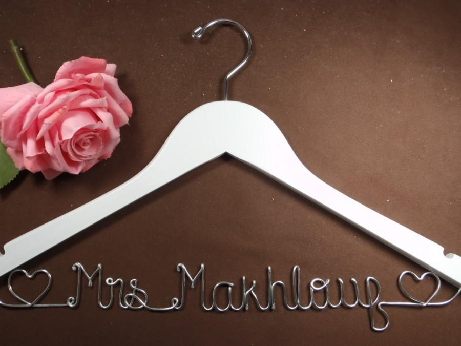 Hochzeit - Bridal Hanger with Hearts for your wedding pictures, Personalized custom bridal hanger, brides hanger, Bridal Hanger, Wedding hanger, Bridal