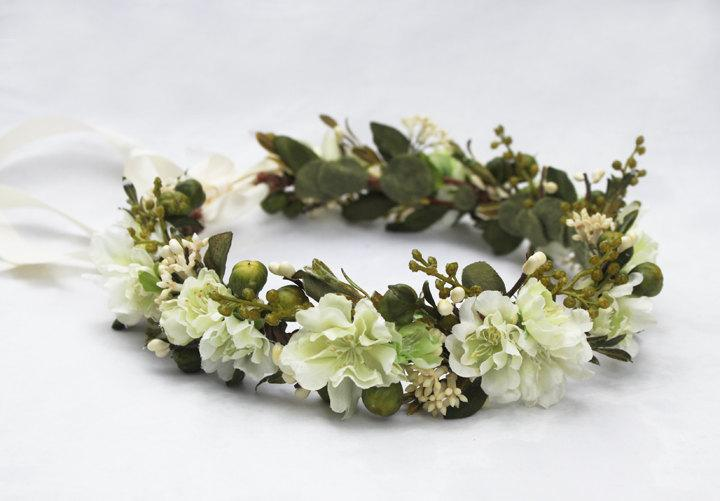 Wedding - Woodland Meadow Bridal Headpiece - Ivory Flower Crown, Green, Spring Wedding, Bridal Flower Crown, Wedding Crown, Boho, Rustic, Woodland