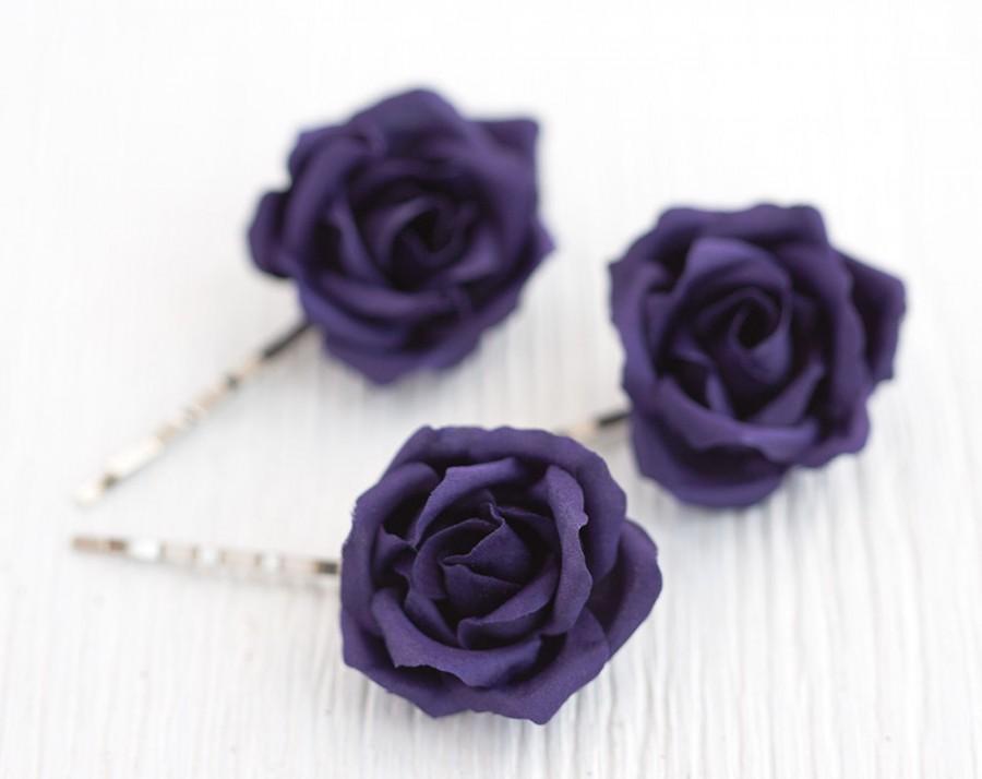 Mariage - Purple rose, Hair accessories, Flowers hair, Hair flowers, Hair clips flowers, Roses hair, Hair pins roses, Hair pin flower, Violet wedding.