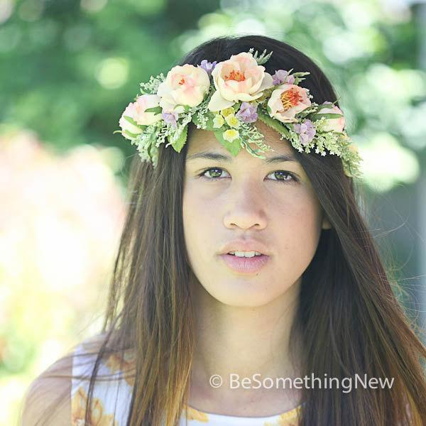 Свадьба - Woodland Wedding Flower Crown in Peaches and Lavenders for your Wedding Day