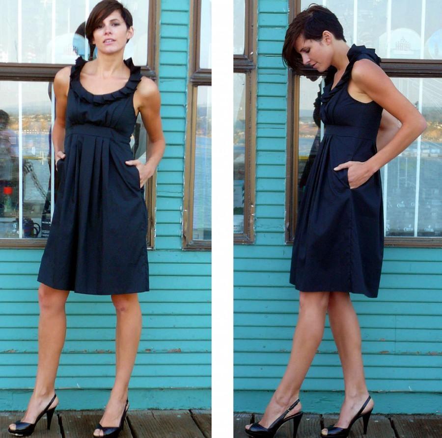 زفاف - Black Bridesmaid Dress with pockets, made to order (more color options)