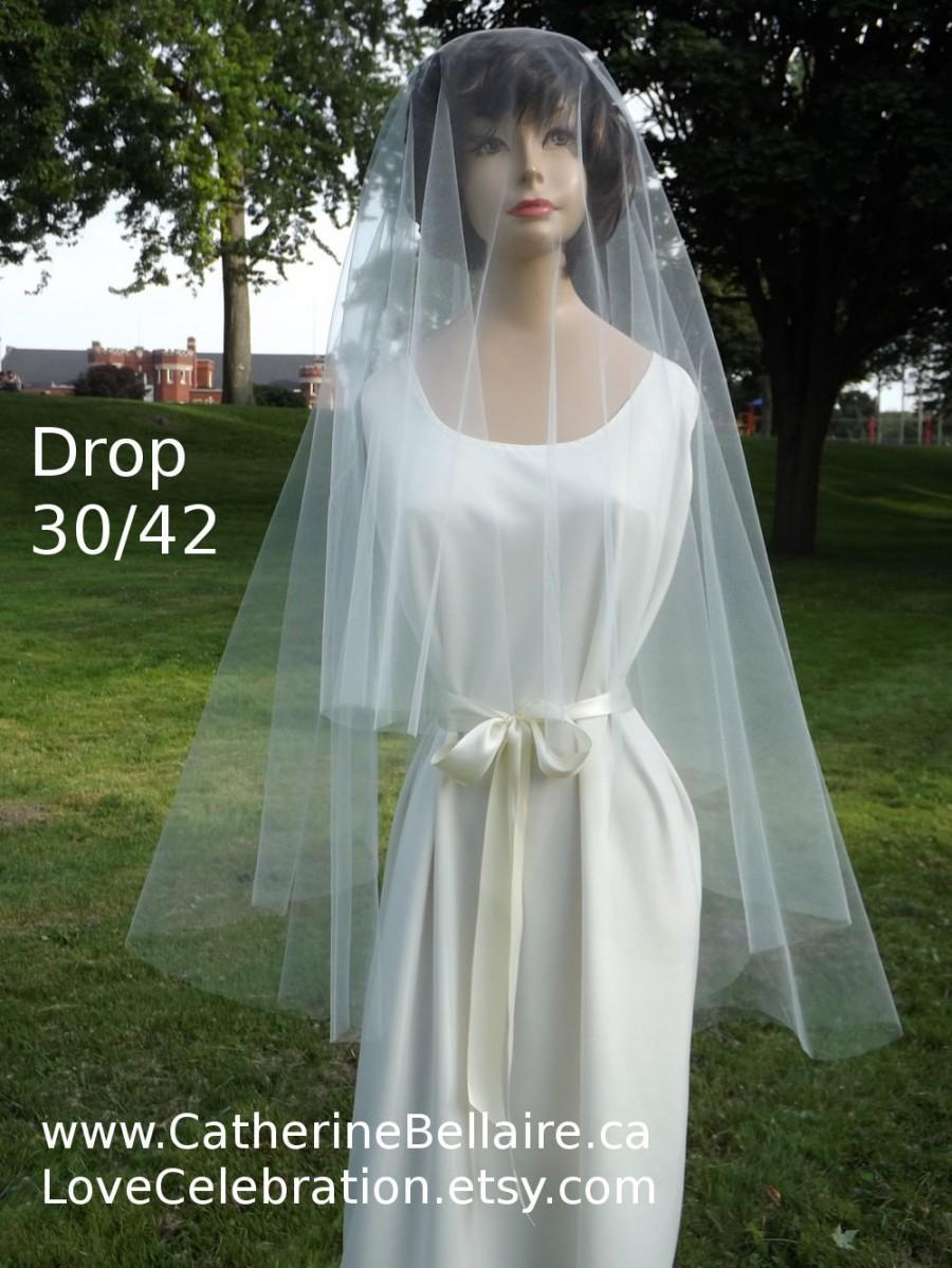 Hochzeit - Circular Blusher Wedding Veil 30/42 - Raw Edge Drop - Fingertip 2 Tier Plain Wedding Veil - Wedding Veil with Blusher, Fingertip Bridal Veil
