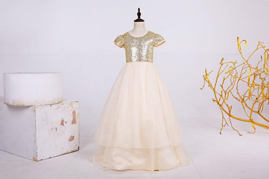762715ccee7e Cute Floor Length Champagne Sequin Short Sleeves Flower Girl Dresses ...