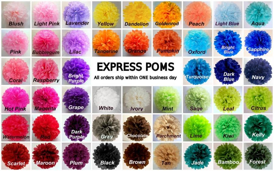 Hochzeit - Tissue Paper Pom Poms - 5 Medium Poms - Ships within ONE Business Day - Tissue Poms - PomPom - Tissue Pom Poms - Choose Your Colors!