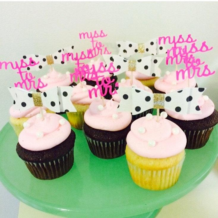 Hochzeit - Miss to Mrs cupcake toppers! 12 PER ORDER Bridal Shower