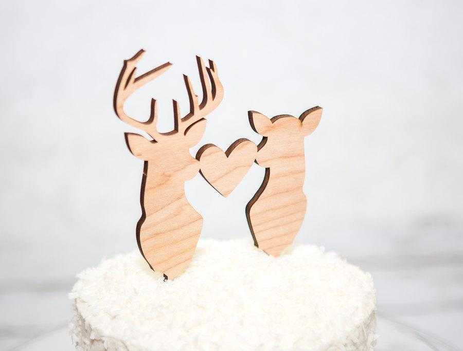 Hochzeit - Cake Topper Deer Head Buck Head Hunting Theme Country Antler Wedding Cake Topper - Hunting Themed Topper (Item - BHT800)