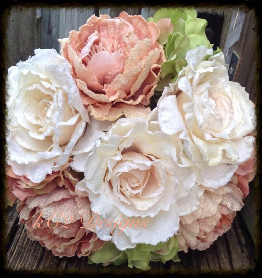Hochzeit - Silk flower wedding bouquet. Silk bouquet. Bridal bouquet. YOUR COLORS. ivory bouquet. Blush bouquet. Hydrangea