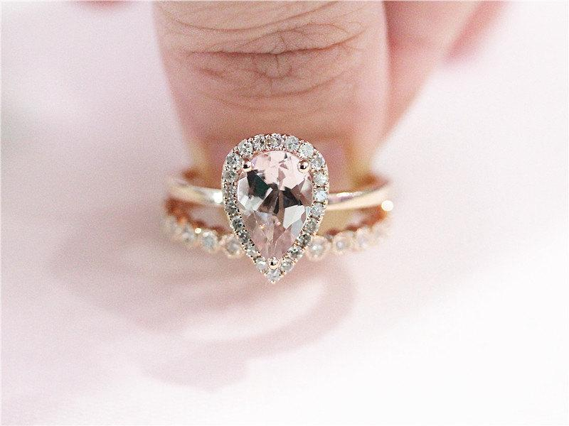 2 Rings Set 14K Rose Gold Ring 6x9mm Pink Morganite Ring 3 4 Eternity Halo Ma