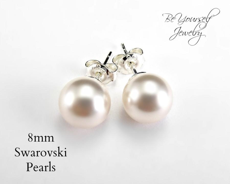 Pearl Bridal Earrings Bride Stud Wedding Jewelry Swarovski Pearls Sterling Silver Studs Bridesmaid