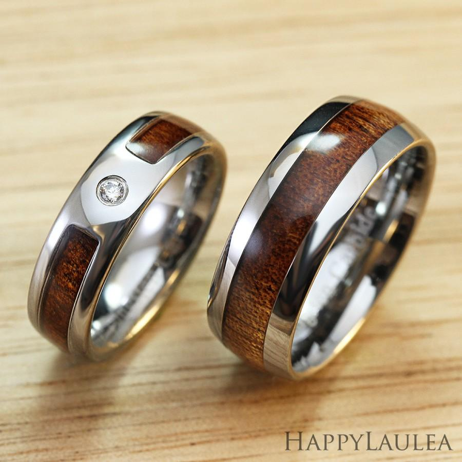 Pair Of Tungsten Carbide Ring With Hawaiian Koa Wood Inlay 6mm
