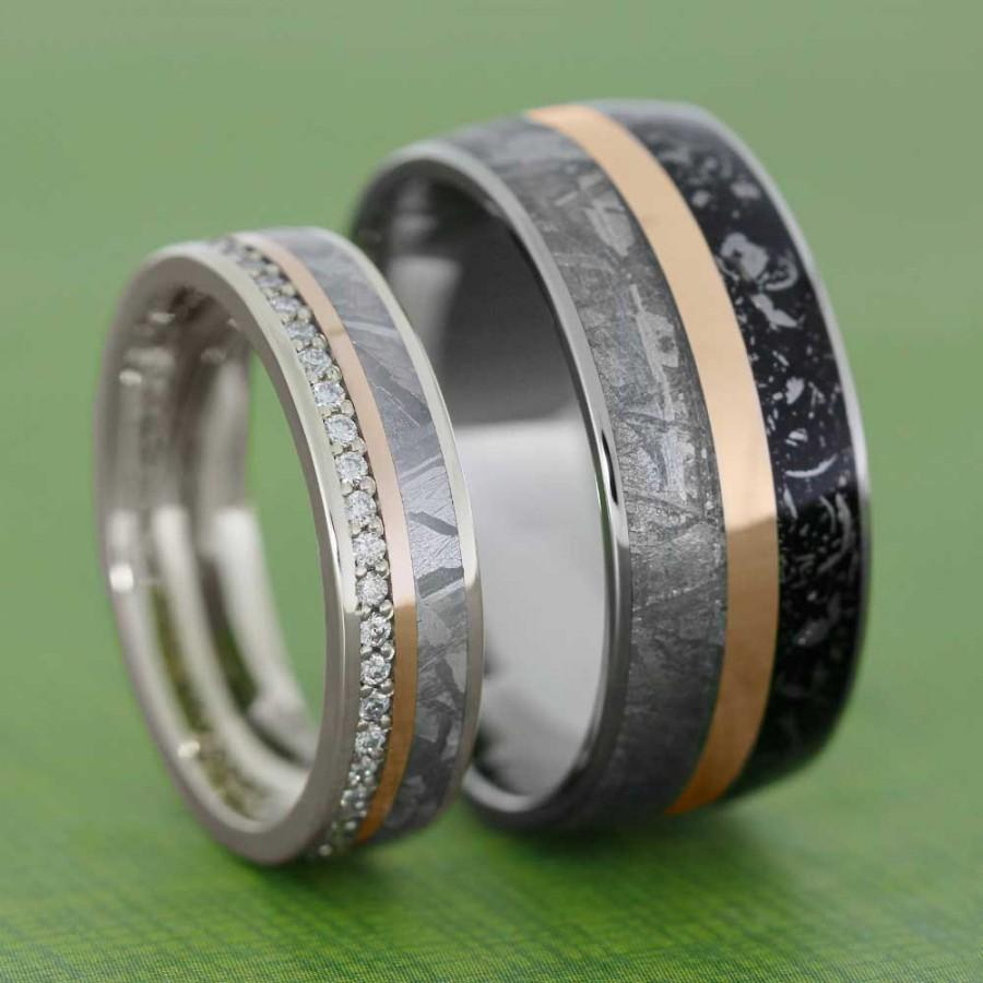 meteorite wedding band set with rose gold pinstripes, womens